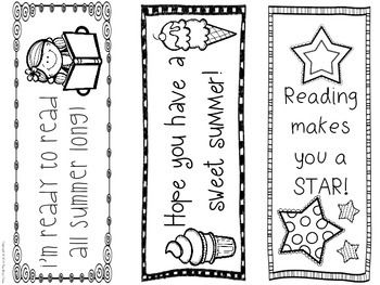 Summer Bookmarks - 6 different designs. Encourage summer reading with ...