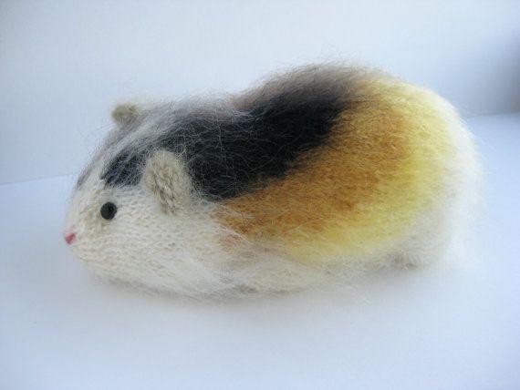 Mohair Guinea Pig, Knitted Guinea Pig,, Stuffed model animal,