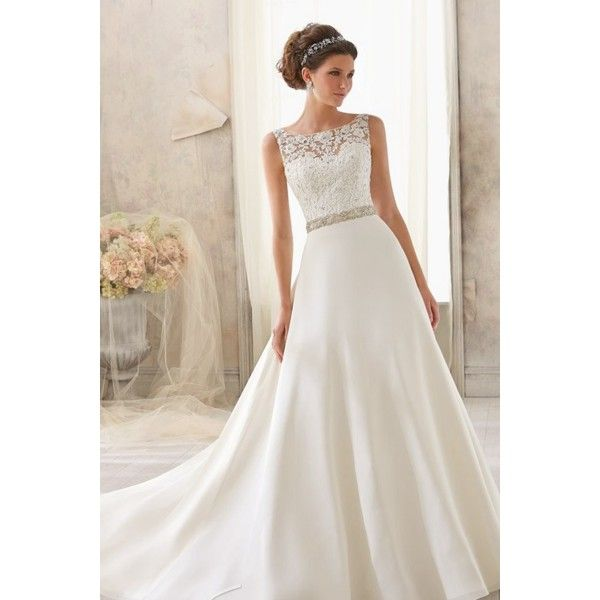 Boat Neckline Grenadine And Lace Wedding Dress Star Bridal