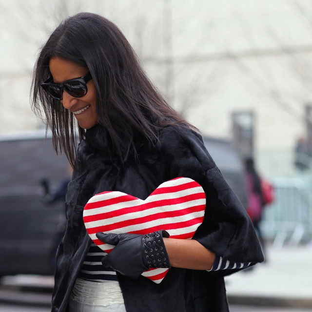 Darling heart shaped, Stripey clutch bag. Stripes In Streetstyle