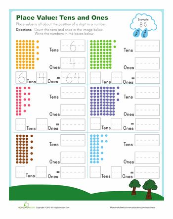 Worksheets: Tens and Ones | 1st Math centers | Pinterest