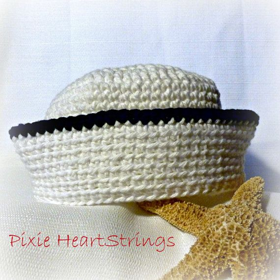 Free Crochet Pattern Baby Sailor Hat : Sailor Hat. Baby Sailor Hat. Crocheted Sailor Hat. Infant ...