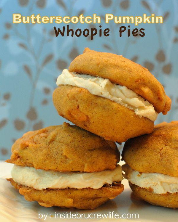 Butterscotch Pumpkin Whoopie Pies with Salted Caramel Butter Cream - 2 ...