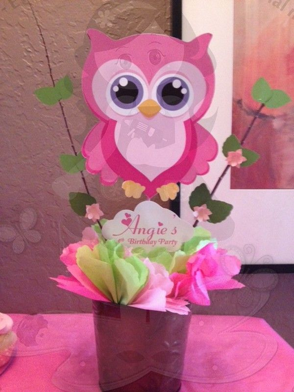 Pink owl centerpiece baby shower oakley pinterest for Baby shower owl decoration ideas
