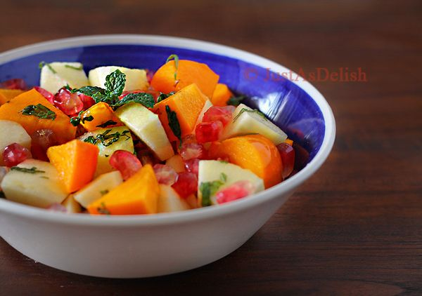 Persimmon Pomegranate Fruit Salad--- perfect recipe for the fruits I ...