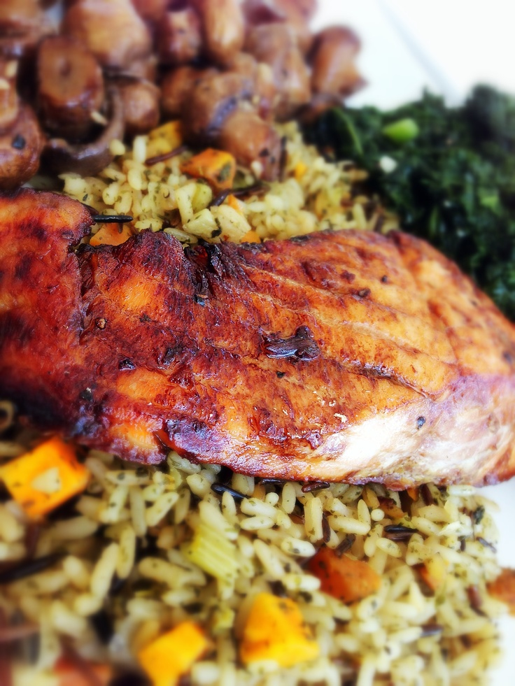 Pomegranate and molasses glazed salmon: with garlic kale and wild rice ...