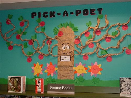 """April is national poetry month and to celebrate, consider spicing up your writing center or classroom library with this cute """"poet-tree"""" from the librarians of Algona-Pacific Library in Washington. While the original board depicted an orchard tree and apples scripted with famous poets, you can certainly tweak the board to fit your classroom needs. Here are a few ideas:        Create a """"blossoming"""" spring tree, trading the apples for flower cutouts.      Have students pick and write their favo..."""
