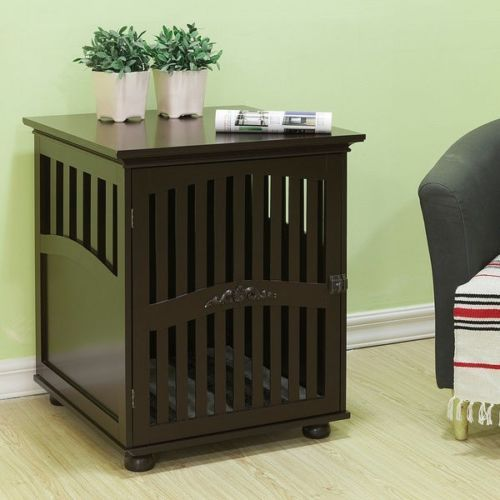 Wooden Dog Kennel Cage Indoor Room End Table Crate Furniture Cabinet
