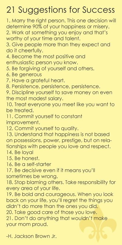 21 Suggestions for Success- good advice