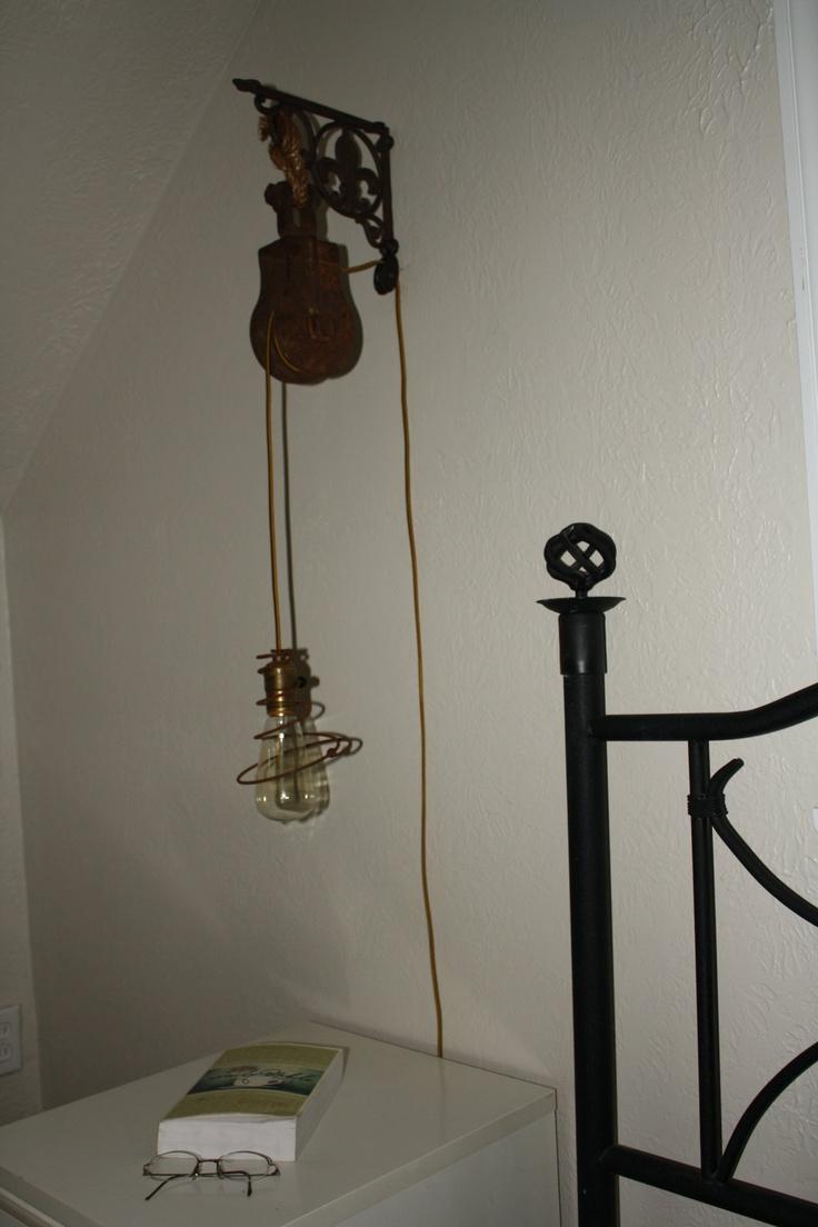 vintage pulley sconce wall mount pendant light fixture via. Black Bedroom Furniture Sets. Home Design Ideas