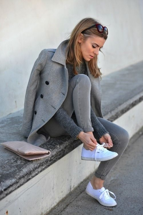 All Grey Outfit With White Superga Shoes Accessoirse Always