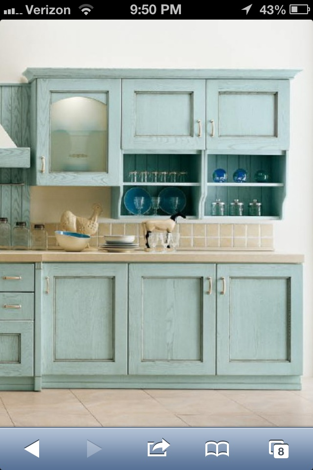 Light turquoise cabinets  Beach house  Pinterest