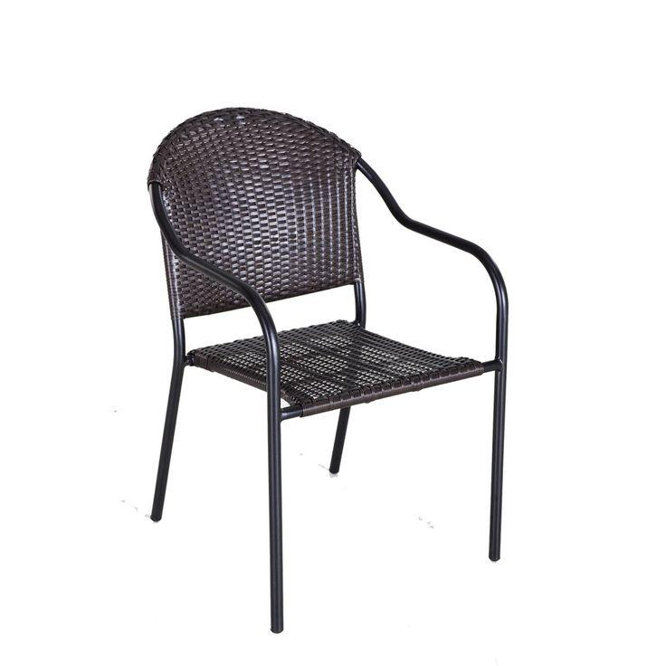 Garden Treasures Pelham Bay Black Tan Stackable Accent Chair