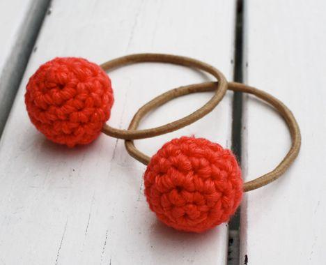 Love these! stylish crochet hair elastics pattern. So cute.