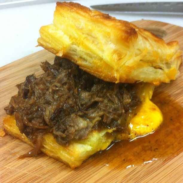 Beer & Chipotle Braised Short Rib. Cheddar Puff Pastry.