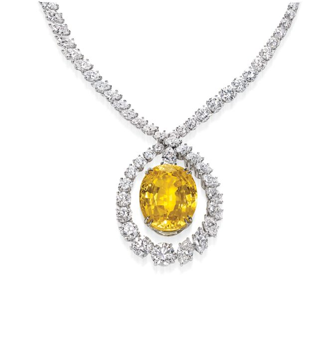 "Harry Winston Yellow Sapphire Necklace from ""The Incredibles"" Collection"