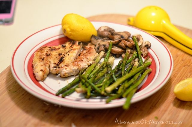 ... , dairy free lemon pepper chicken, asparagus and sautéed mushrooms