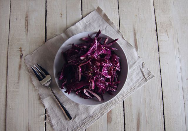 Red Cabbage Slaw made with pickle brine