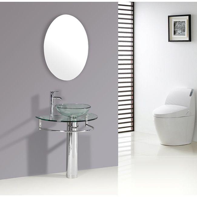 Pedestal Sink Vanity : Kokols Clear Vessel Sink Pedestal Bathroom Vanity