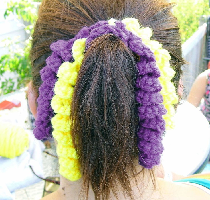 Crochet Curly Q Hair Ties : Vikings or Packers crochet hair spirit scrunchie ... Our Etsy site!!