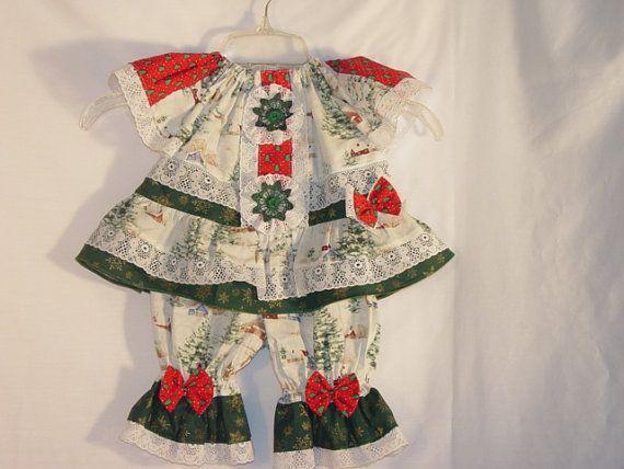 Baby girl christmas holiday dress bloomer ready to ship 3 6m handma