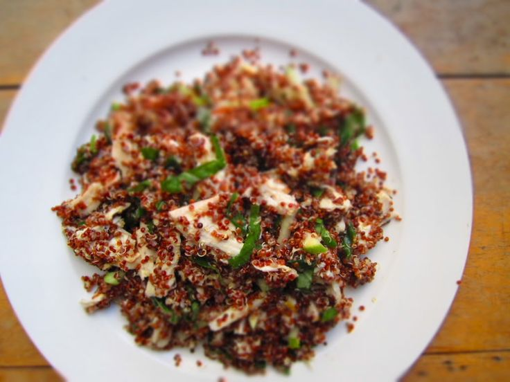 Red Quinoa Salad with Roast Chicken, Tart Apple, and Fresh Basil