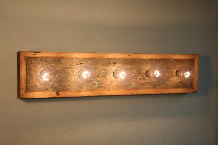 Vanity light fixture reclaimed oak barnwood for Oak bathroom light fixtures