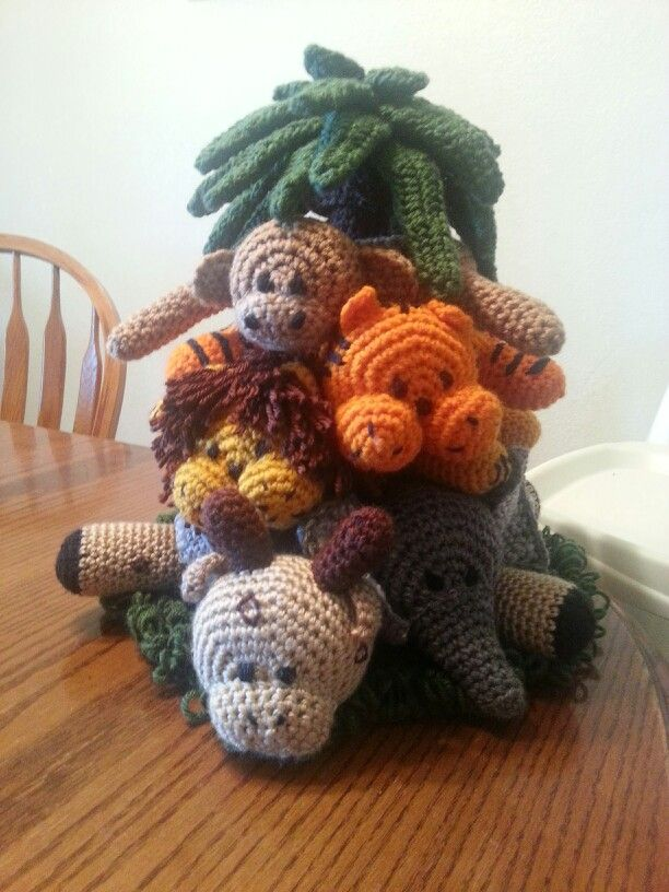 Crochet stacked ring jungle animals Crochet, Knit, Yarn Pinterest