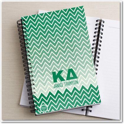 Shining Chevron: Kappa Delta - Greek Notebooks in a bright Tree Green.