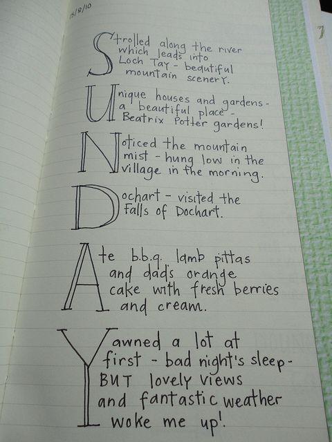 Cool journaling idea