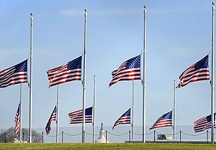 when to fly flags at half staff