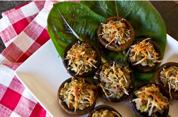 Sausage & Chestnut Stuffed Mushroom Caps | Food | Pinterest