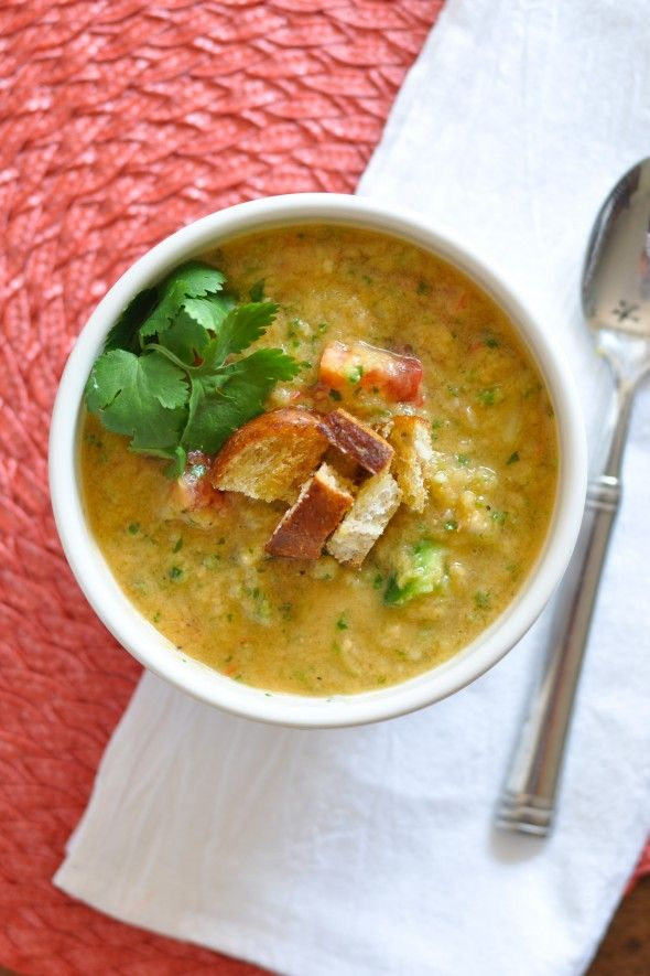 Spicy Gazpacho- would be yummy topped with grilled shrimp!