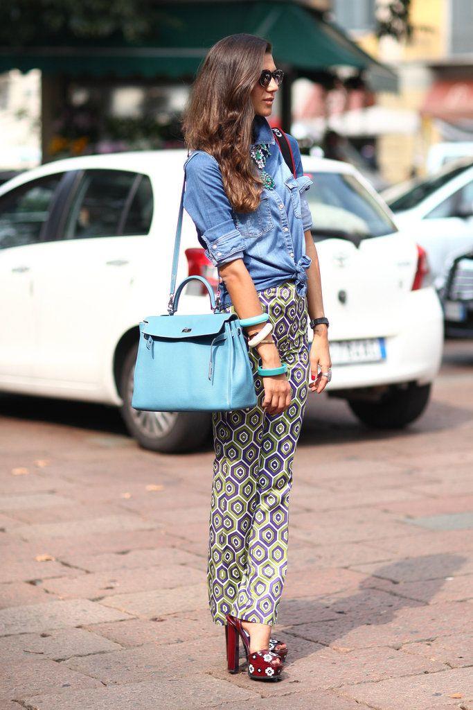 Milan Fashion Week Street Style: Chambray + Necklace + Printed Pants via @FabSugar