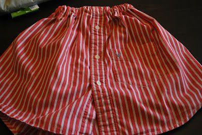 Girl s skirt from a men s shirt tutorial sewing pinterest