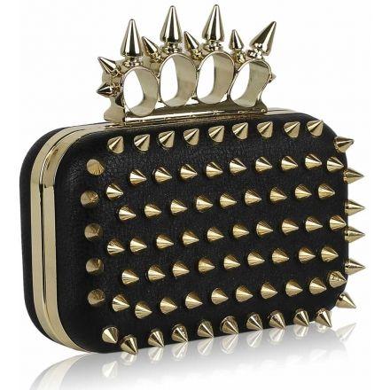 Kabelka prsteňová vybíjaná Ostne, čierno-zlatá 11923 ...