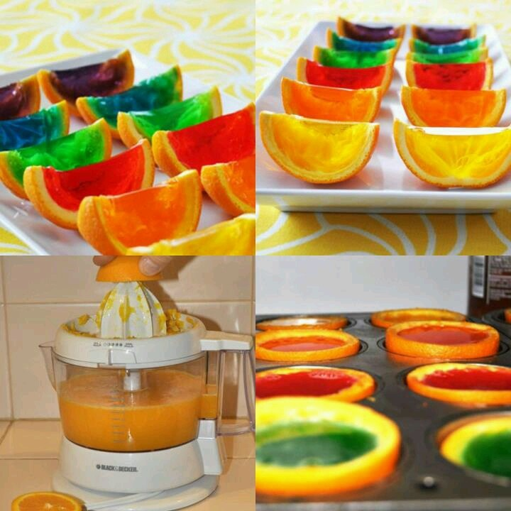 Rainbow gelatin orange wedges | Fun for Home... | Pinterest