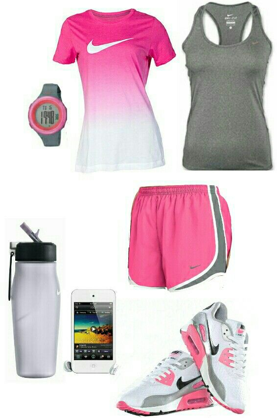 Womens Pink Gray Nike Workout Outfit   My Sporty Closet...   Pinterest