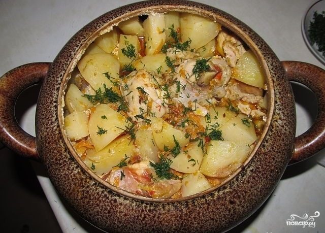 Свинина в горшке с картошкой в духовке рецепт пошагово