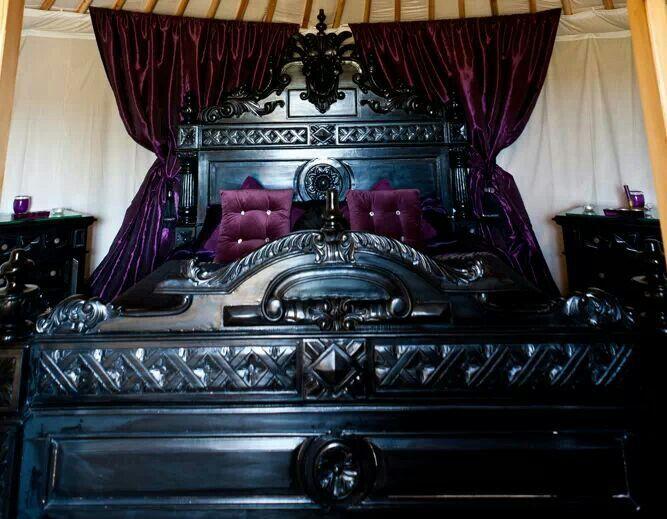 purple black elegant goth bedroom spaces pinterest