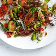 Easy Brussels Sprouts and Steak Stir-Fry | Brussel sprout recipes | P ...