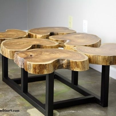 Coffee Table Wood Slices Rustic Crafts Pinterest