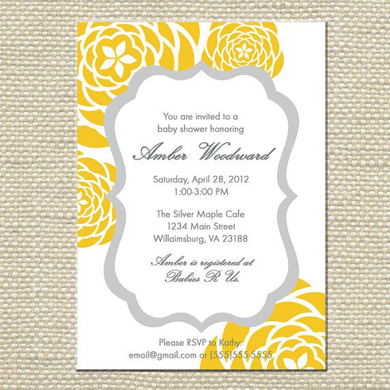 yellow and gray grey baby shower invitation customized 5x7 printable