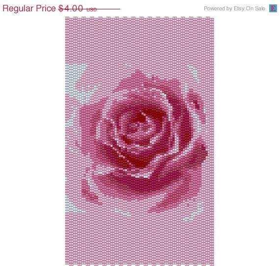 SALE Peyote two beads pattern- Big  pink Roses cuff bracelet pattern,PDF file pattern ,Delica seed beads pattern