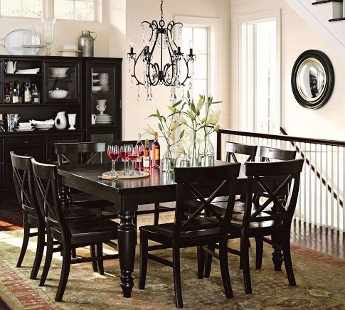 Pottery barn dining set black home decor pinterest for Pottery barn dining room ideas