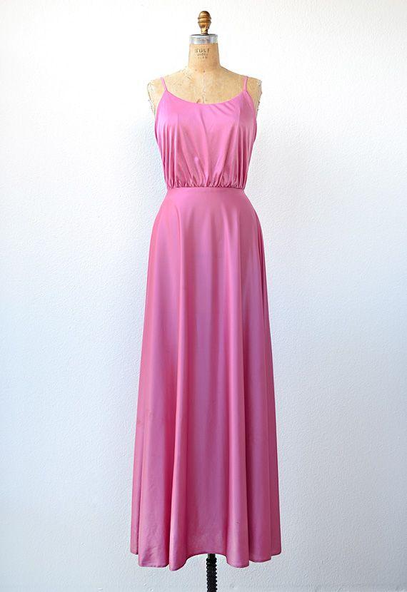Vintage 1970s pink disco maxi dress vintage pinterest