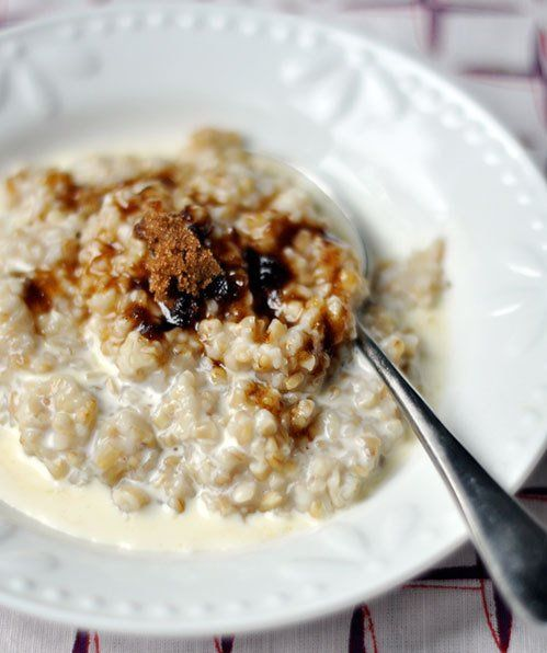 ... steel cut oats, cooking and folding yoghurt in afterwards seems to