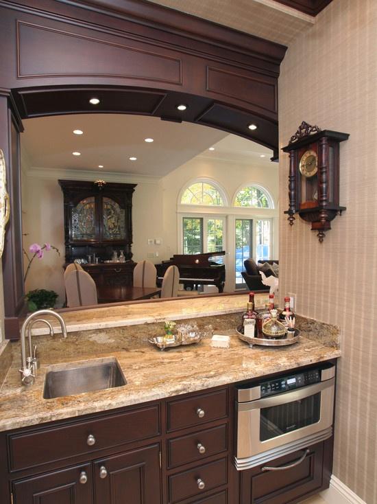 Wet bar built in microwave kitchen pinterest for Built in bar designs