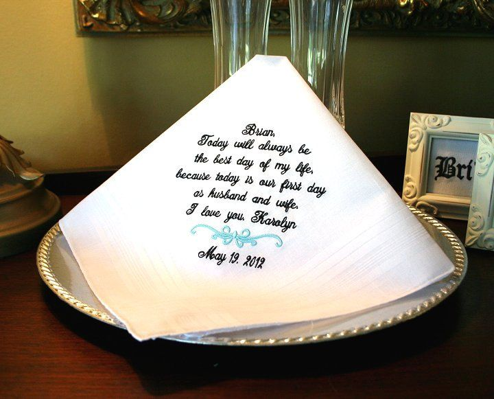Wedding Day Gift Groom : Groom Handkerchief -Hankie - Hanky - Best day of my life - First day ...