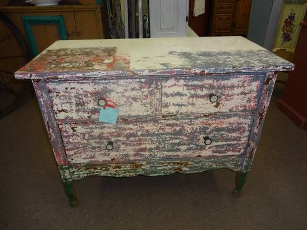 SOLD Unique 2 Drawer Chest By Helmers Maker Of Furniture Lots Of Chippy Pa